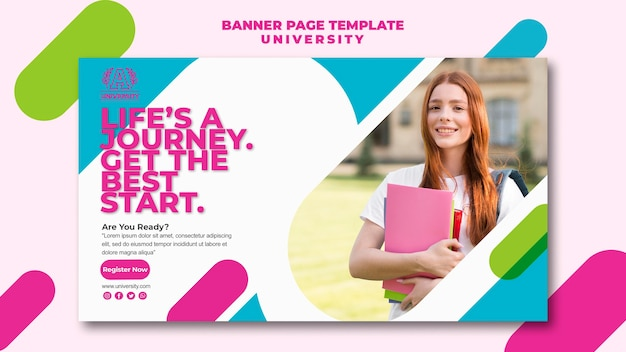 University banner page template