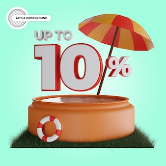 Up to 10 percent discount isolated 3d render