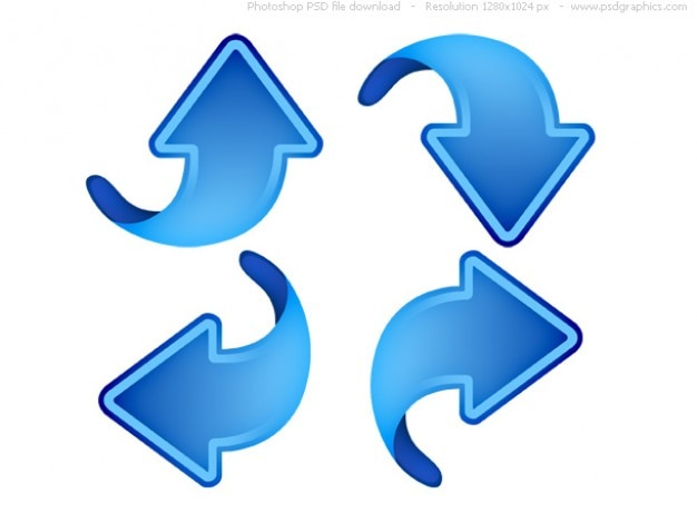 Up, down, left and right arrows, blue web icons
