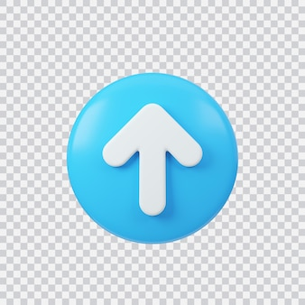 Upload sign 3d render interface button isolated on white
