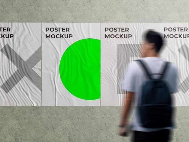 Urban advertising wall glued street poster mockup on grung wall with walking person