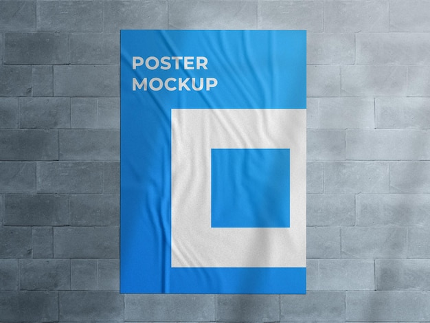 Urban advertising wall glued street poster mockup with shadow overlay Premium Psd