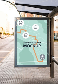 Urban bus stop with mock-up