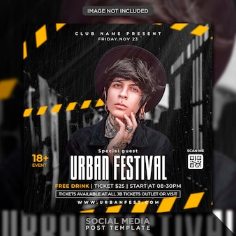 Urban club dj party flyer social media post and web banner template