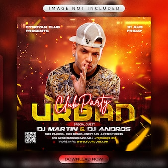 Urban club party flyer or social media promotional template