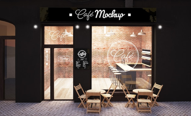 Urban coffee store front display mockup 3d rendering