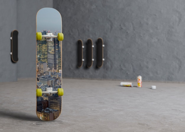 Urban colorful skateboard with mock-up