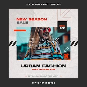 Urban fashion social media post template
