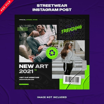 Шаблон поста в instagram для городской моды streetwear