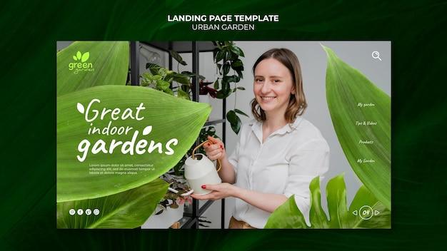 Modello di progettazione della pagina di destinazione del giardino urbano