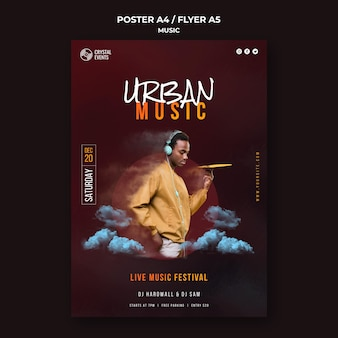 Urban music festival poster template