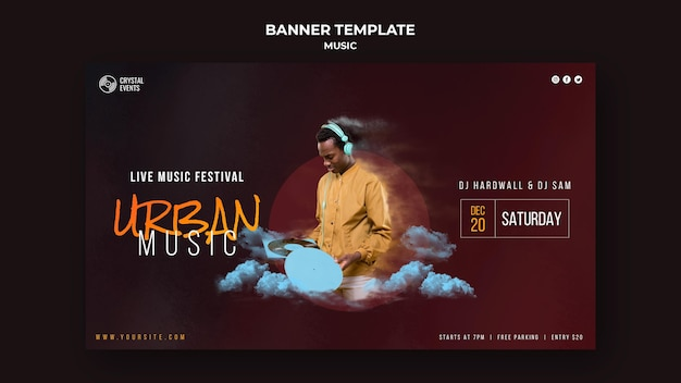 Urban music horizontal banner template Free Psd