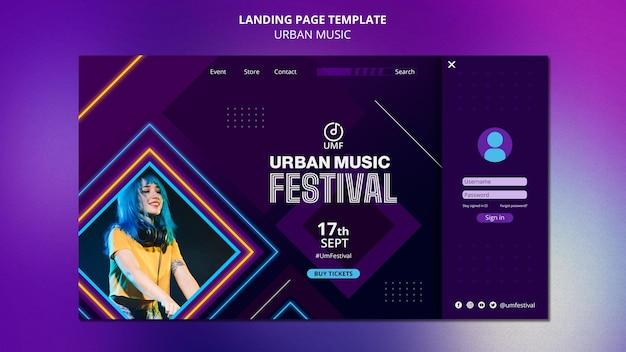 Urban music landing page template
