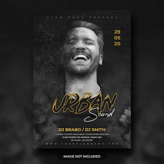 Urban night music festival flyer or party poster template