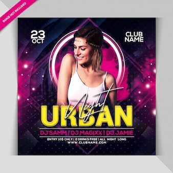 Urban night party banner template