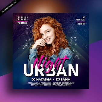 Urban night party flyer for social media post template