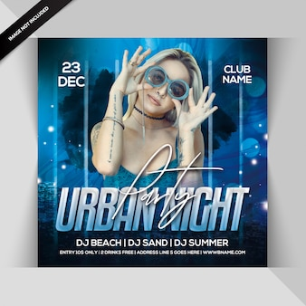 Urban night party square flyer