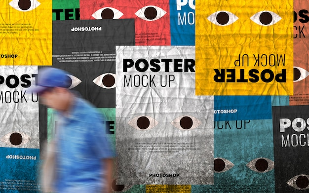 Urban old wall poster collage mockup realistic