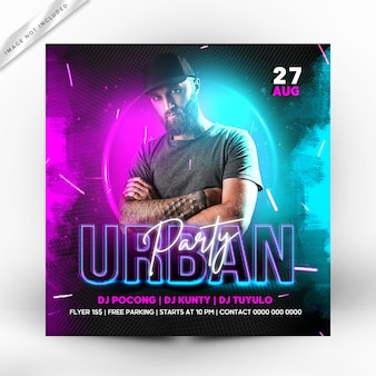 Urban party flyer square template