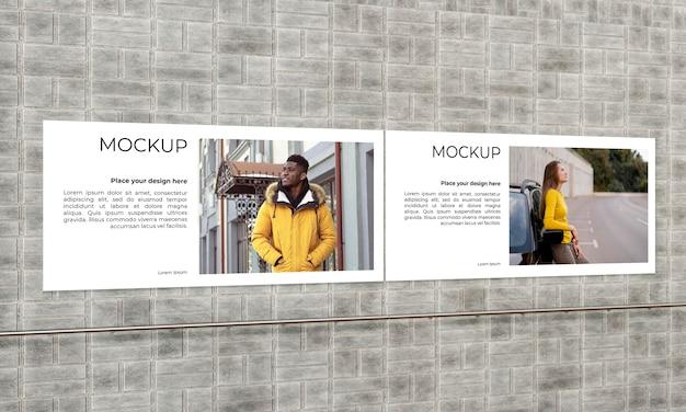 Urban poster grey concrete mock up