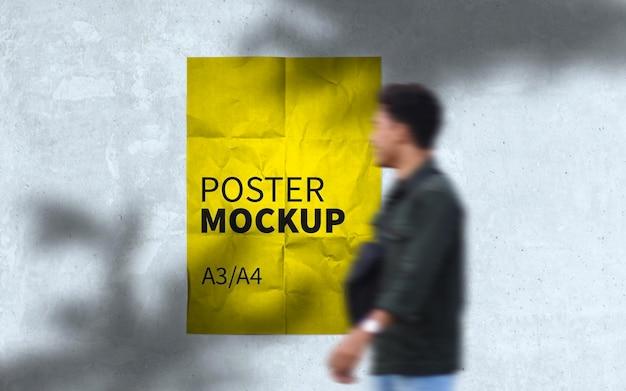 壁のモックアップの都市のポスター