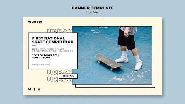 Urban skate concept banner template