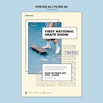 Шаблон плаката с концепцией городского конька