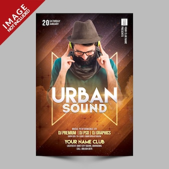 Шаблон urban sound party flyer премиум
