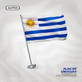 Uruguay realistic 3d textured flag