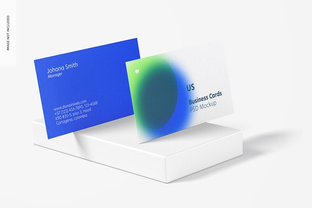 Us landscape business cards mockup