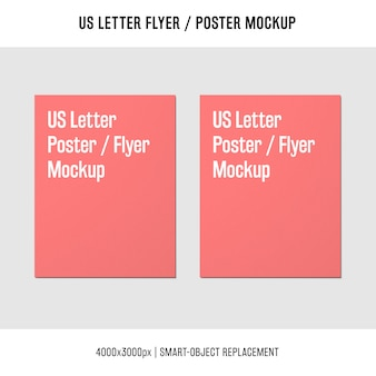 Us letter flyer or poster mockup next to each other