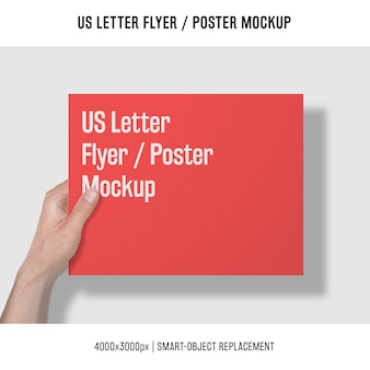 Us letter flyer or poster mockup with hand