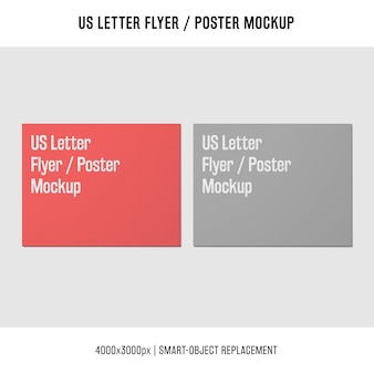 Us letter flyer or poster mockups in two colors