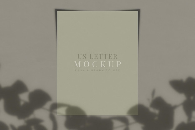 Us letter paper mockup with shadow overlay.template for branding identity.  3d rendering