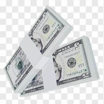 미국 통화 달러 5: 미국 달러 미국 지폐의 스택