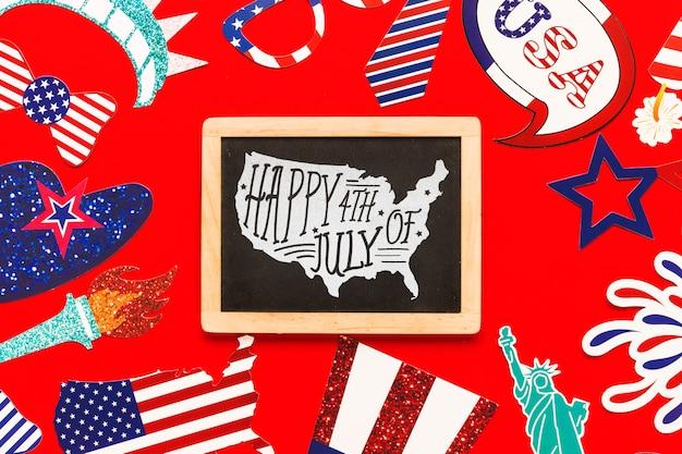 Usa independence day mockup with slate
