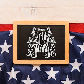 スレートを用いた米国の独立記念日モックアップ