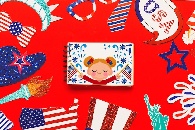 Usa independence day mockup with spiral notepad