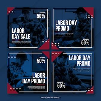 미국 노동절 인스 타 그램 게시물 번들 템플릿 프리미엄 psd
