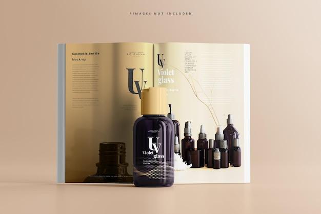 雑誌のモックアップとuvガラス化粧品ボトル