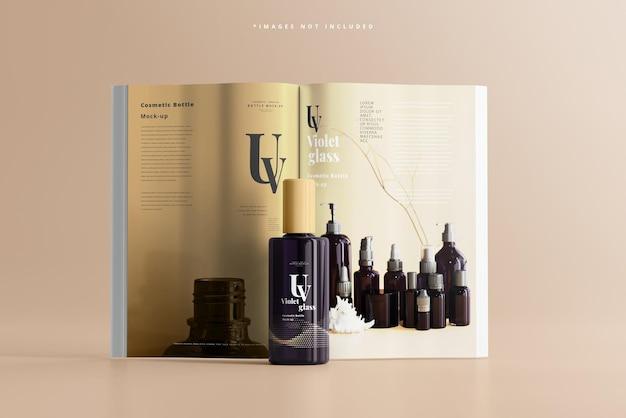 Bottiglia cosmetica in vetro uv con mockup di riviste