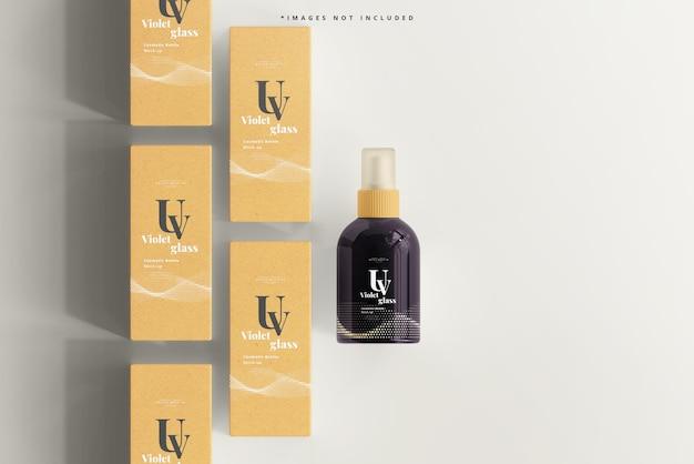 Uvガラス化粧品スプレーボトルとボックスのモックアップ
