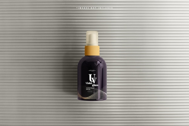 Uv glass cosmetic spray bottle mockup