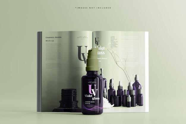 マガジンモックアップ付きuvガラス化粧品スプレーボトル