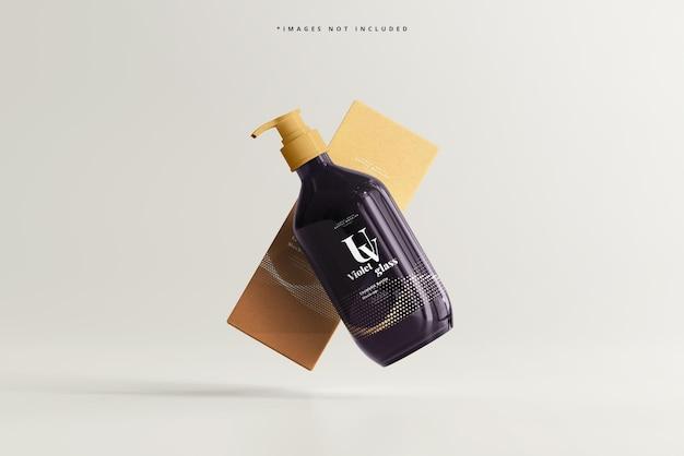 Mockup di bottiglia e scatola con pompa in vetro uv