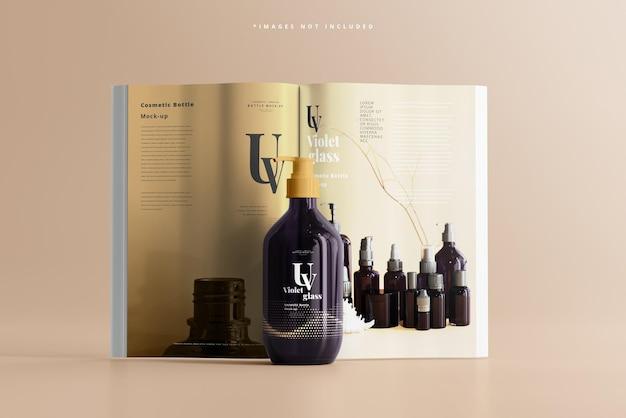 Bottiglia con pompa in vetro uv con mockup di riviste