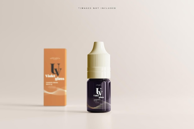 Uv glass unicorn dropper bottle and box mockup