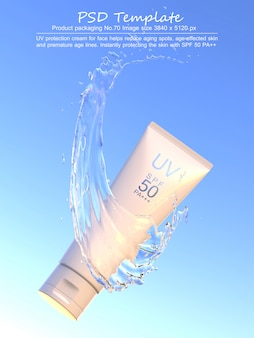 Uv sunscreen product with water splash on blue background 3d render
