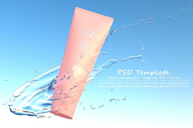 파란색 배경에 물 스플래시와 자외선 차단제 제품 3d 렌더링
