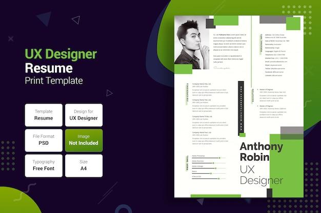 プロフェッショナルuxer green&black resumeテンプレート